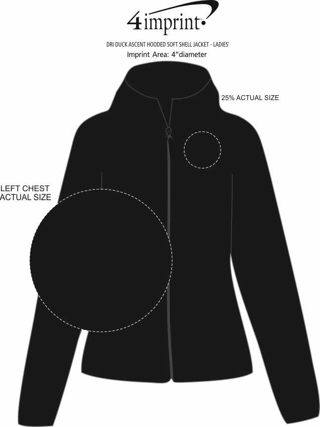 Imprint Area of DRI DUCK Ascent Hooded Soft Shell Jacket - Ladies'