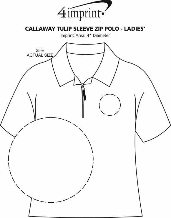 Imprint Area of Callaway Tulip Sleeve Zip Polo - Ladies'