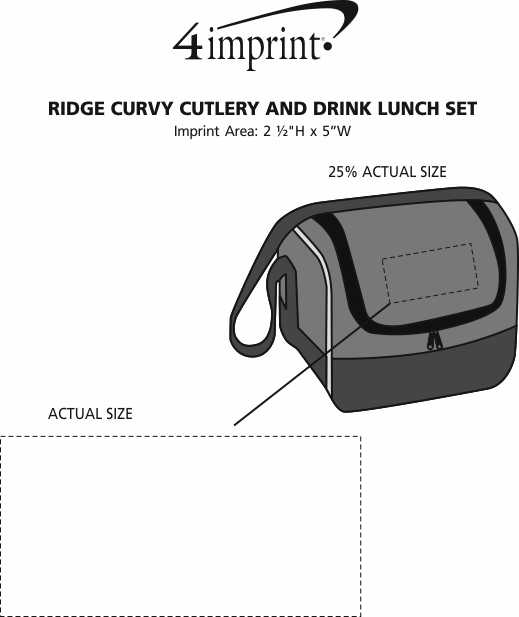 Imprint Area of Ridge Curvy Cutlery and Drink Lunch Set