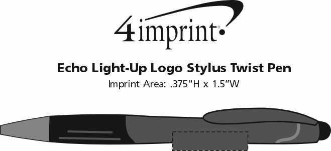 Imprint Area of Echo Light-Up Logo Stylus Twist Pen