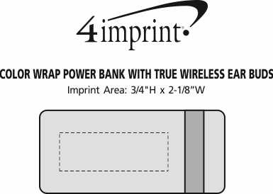 Imprint Area of Color Wrap Power Bank with True Wireless Ear Buds