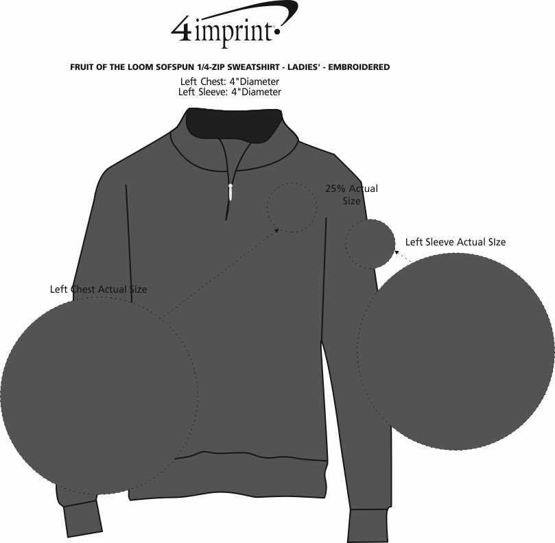 Imprint Area of Fruit of the Loom Sofspun 1/4-Zip Sweatshirt - Ladies' - Embroidered