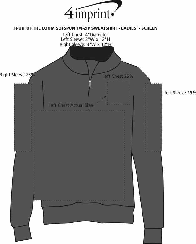 Imprint Area of Fruit of the Loom Sofspun 1/4-Zip Sweatshirt - Ladies' - Screen