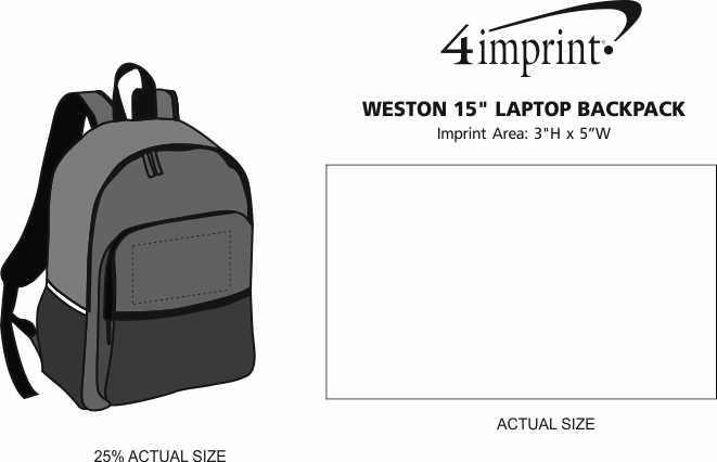 "Imprint Area of Weston 15"" Laptop Backpack"