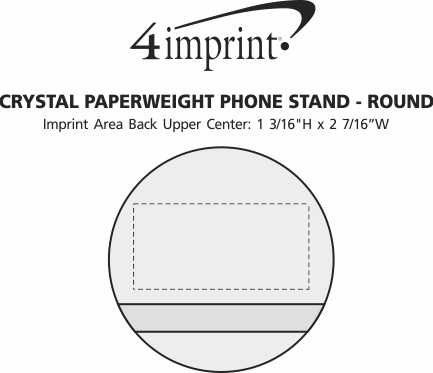 Imprint Area of Crystal Paperweight Phone Stand - Round
