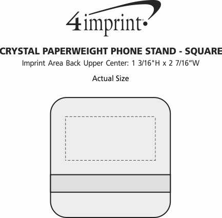 Imprint Area of Crystal Paperweight Phone Stand - Square