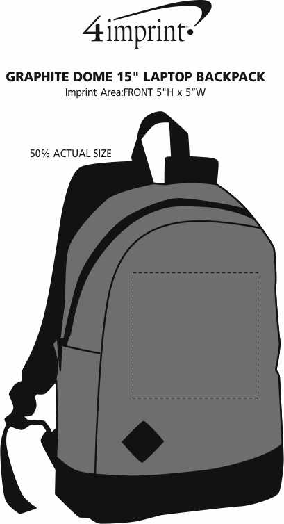 """Imprint Area of Graphite Dome 15"""" Laptop Backpack"""