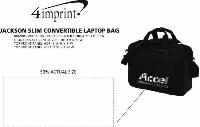 Imprint Area of Jackson Slim Convertible Laptop Bag