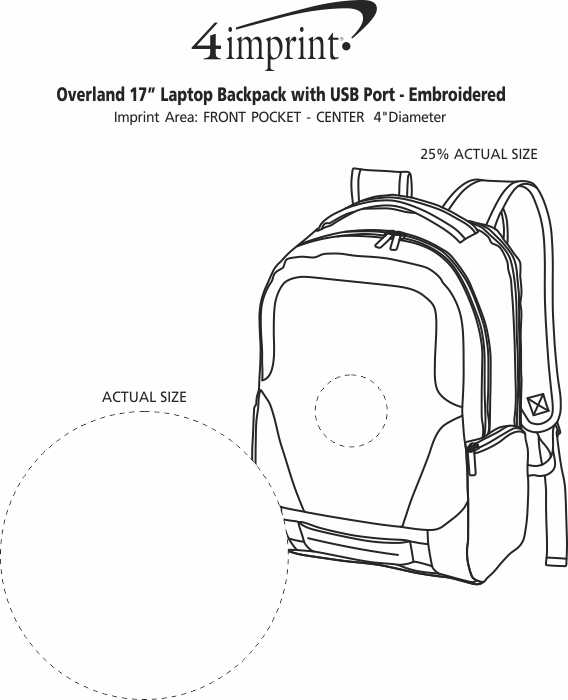 """Imprint Area of Overland 17"""" Laptop Backpack with USB Port - Embroidered"""