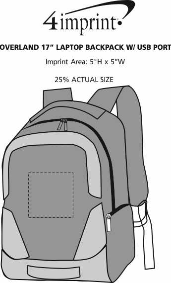"Imprint Area of Overland 17"" Laptop Backpack with USB Port"