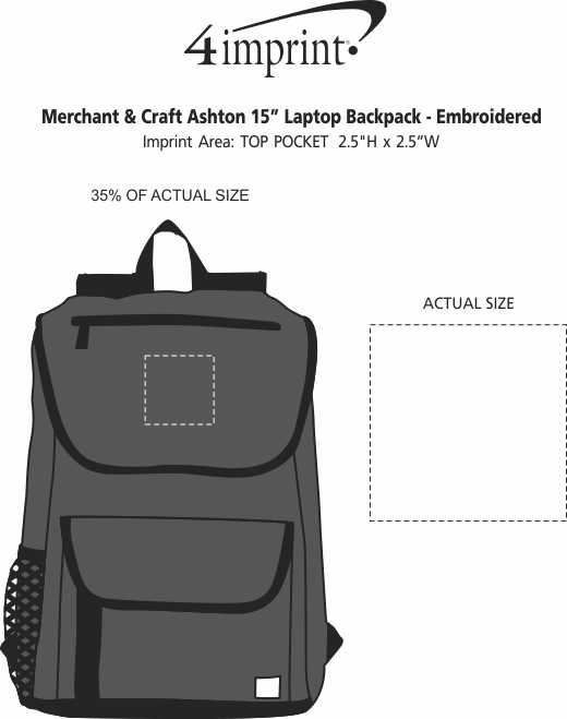 """Imprint Area of Merchant & Craft Ashton 15"""" Laptop Backpack - Embroidered"""
