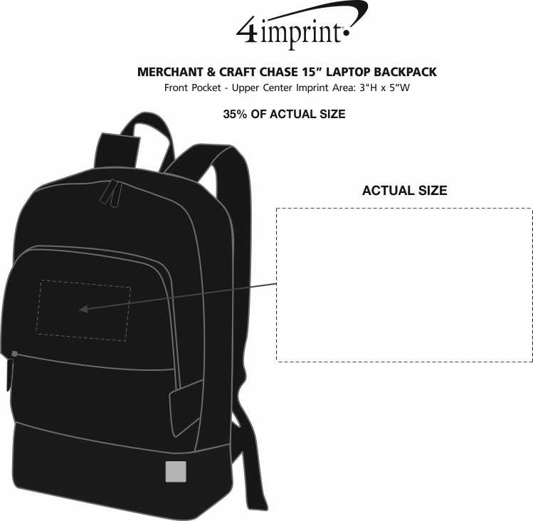 """Imprint Area of Merchant & Craft Chase 15"""" Laptop Backpack"""