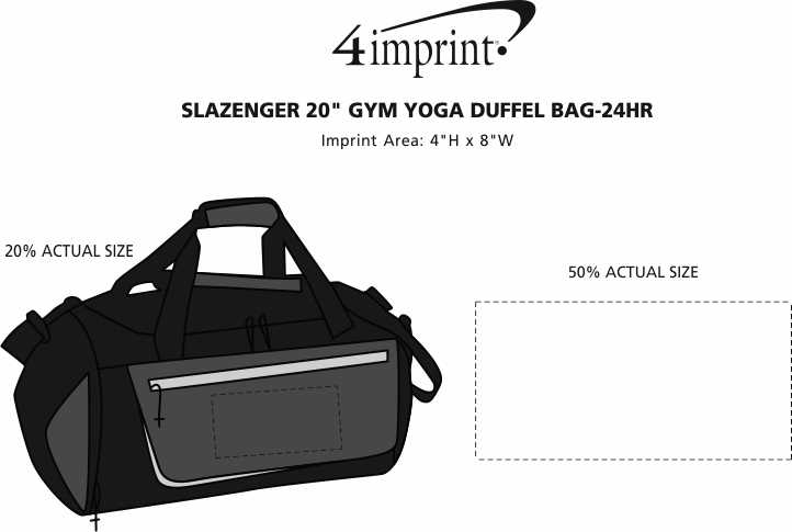 "Imprint Area of Slazenger 20"" Gym Yoga Duffel Bag - 24 hr"