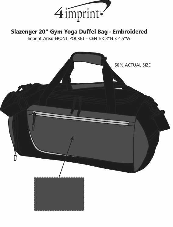 """Imprint Area of Slazenger 20"""" Gym Yoga Duffel Bag - Embroidered"""