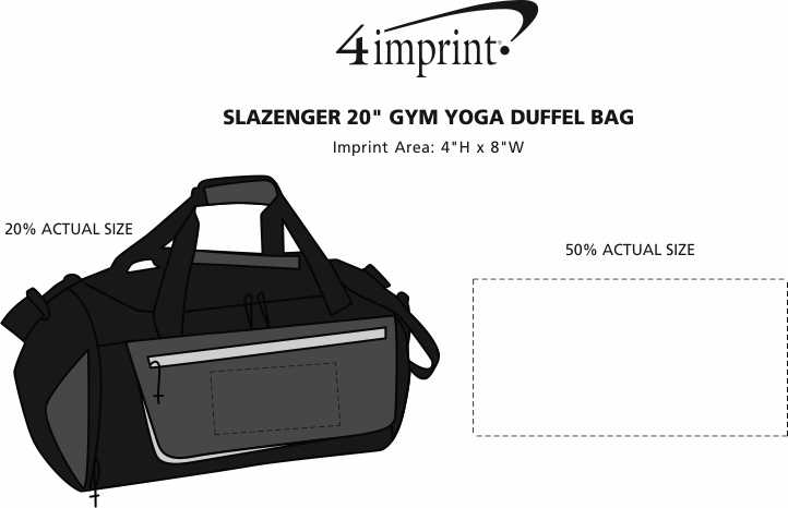 "Imprint Area of Slazenger 20"" Gym Yoga Duffel Bag"