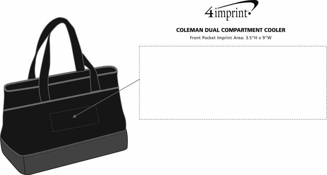 Imprint Area of Coleman Dual Compartment Cooler