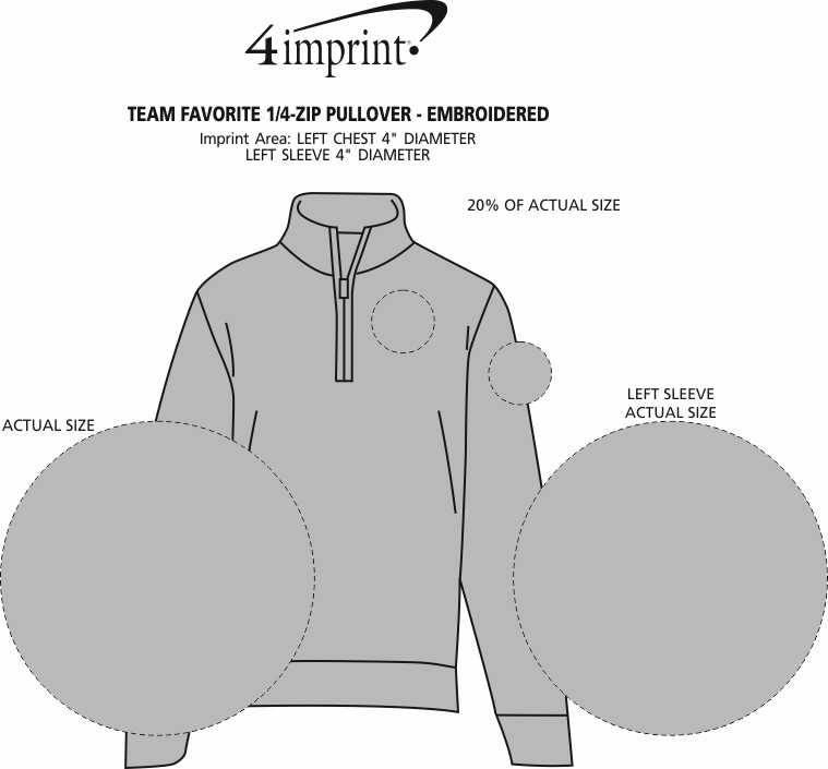 Imprint Area of Team Favorite 1/4-Zip Pullover - Embroidered