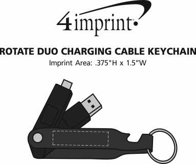 Imprint Area of Rotate Duo Charging Cable Keychain