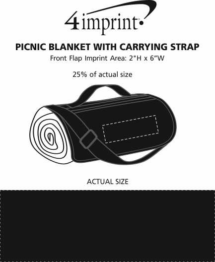 Imprint Area of Picnic Blanket with Carrying Strap