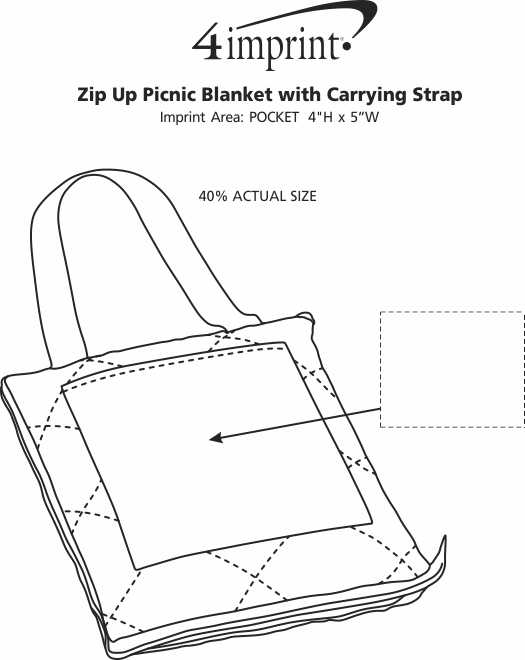 Imprint Area of Zip Up Picnic Blanket with Carrying Strap