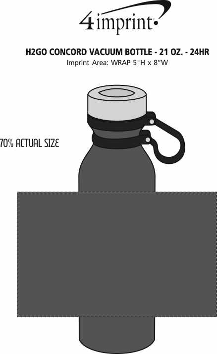 Imprint Area of h2go Concord Vacuum Bottle - 21 oz. - 24  hr