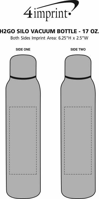 Imprint Area of h2go Silo Vacuum Bottle - 17 oz.