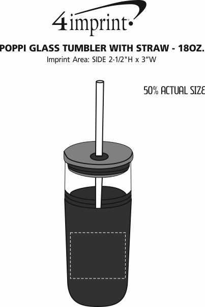Imprint Area of Poppi Glass Tumbler with Straw - 18 oz.