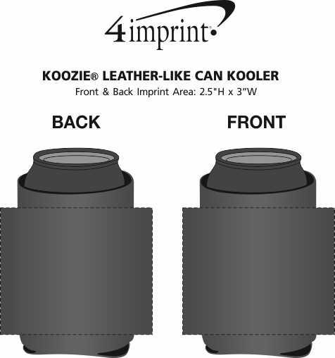 Imprint Area of Koozie® Leather-Like Can Kooler