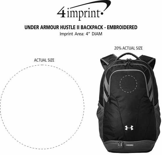 Imprint Area of Under Armour Hustle II Backpack - Embroidered