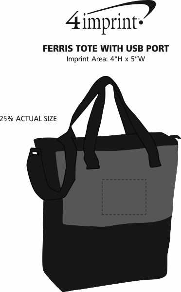 Imprint Area of Ferris Tote with USB Port