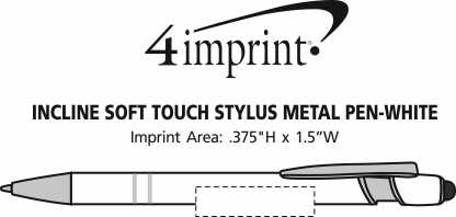 Imprint Area of Incline Soft Touch Stylus Metal Pen - White
