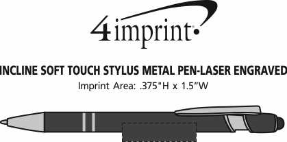 Imprint Area of Incline Soft Touch Stylus Metal Pen - Laser Engraved