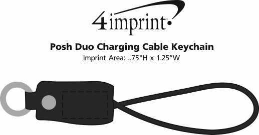 Imprint Area of Posh Duo Charging Cable Keychain