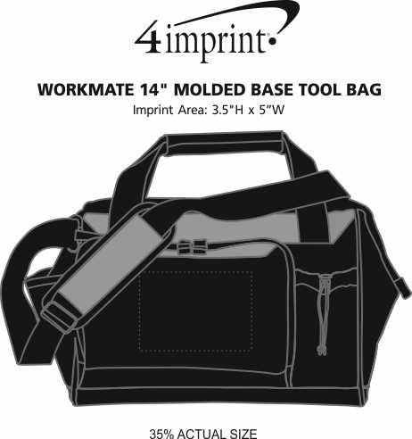 """Imprint Area of WorkMate 14"""" Molded Base Tool Bag"""