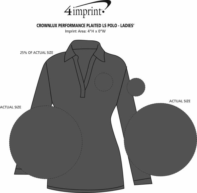 Imprint Area of CrownLux Performance Plaited LS Polo - Ladies'