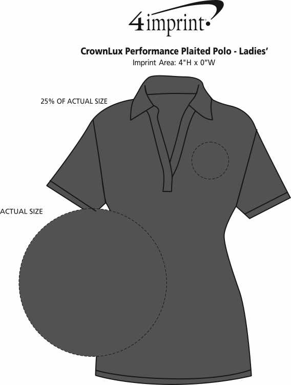Imprint Area of CrownLux Performance Plaited Polo - Ladies'