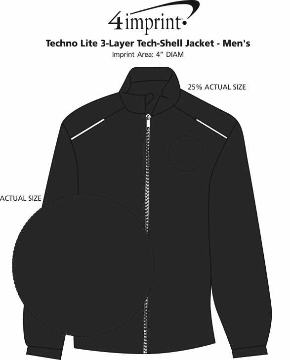 Imprint Area of Techno Lite 3-Layer Tech-Shell Jacket - Men's