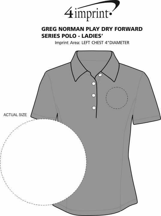 Imprint Area of Greg Norman Play Dry Foreward Series Polo - Ladies'