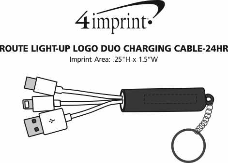 Imprint Area of Route Light-Up Logo Duo Charging Cable - 24 hr