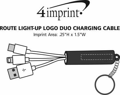 Imprint Area of Route Light-Up Logo Duo Charging Cable
