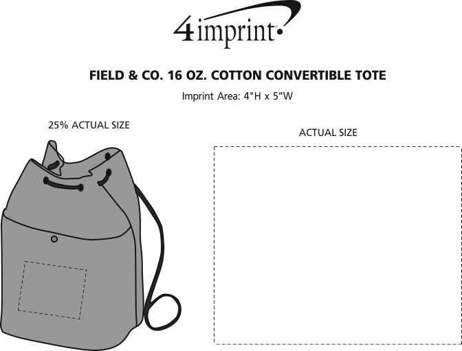 Imprint Area of Field & Co.16 oz. Cotton Convertible Tote