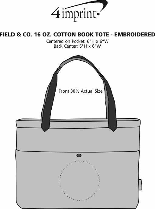 Imprint Area of Field & Co. 16 oz. Cotton Book Tote - Embroidered