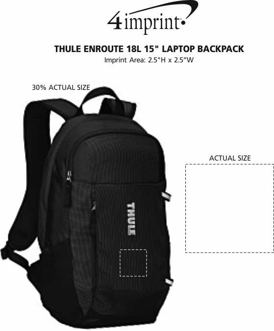 """Imprint Area of Thule EnRoute 18L 15"""" Laptop Backpack"""