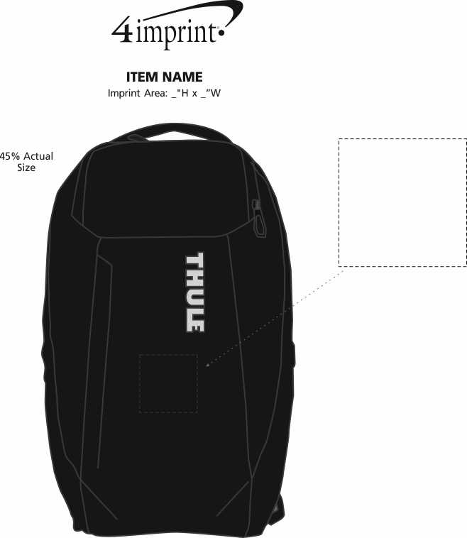 "Imprint Area of Thule Accent 15"" Laptop Backpack"