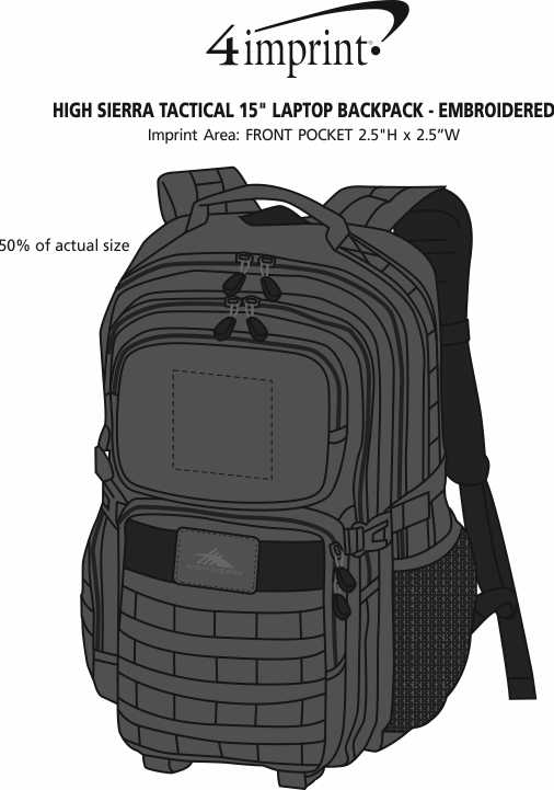"Imprint Area of High Sierra Tactical 15"" Laptop Backpack - Embroidered"