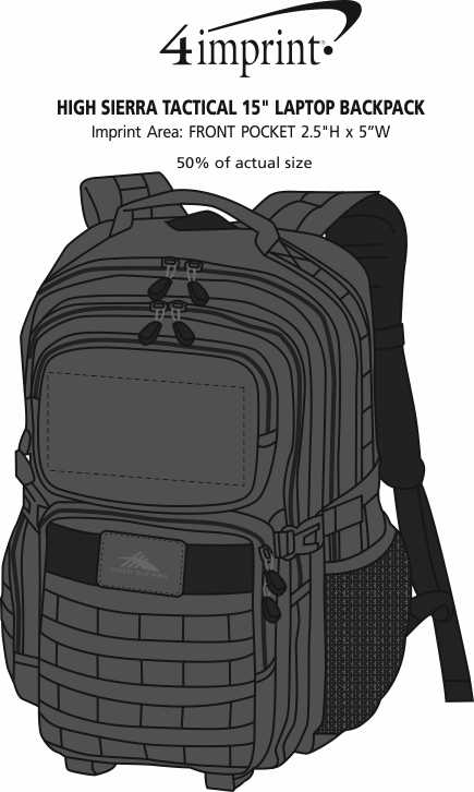 """Imprint Area of High Sierra Tactical 15"""" Laptop Backpack"""