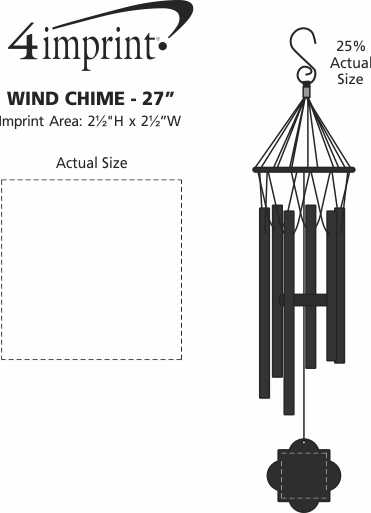 """Imprint Area of Wind Chime - 27"""""""
