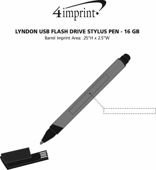 Imprint Area of Lyndon USB Flash Drive Stylus Pen - 16GB