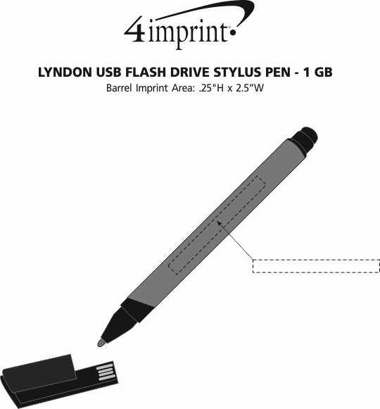 Imprint Area of Lyndon USB Flash Drive Stylus Pen - 1GB