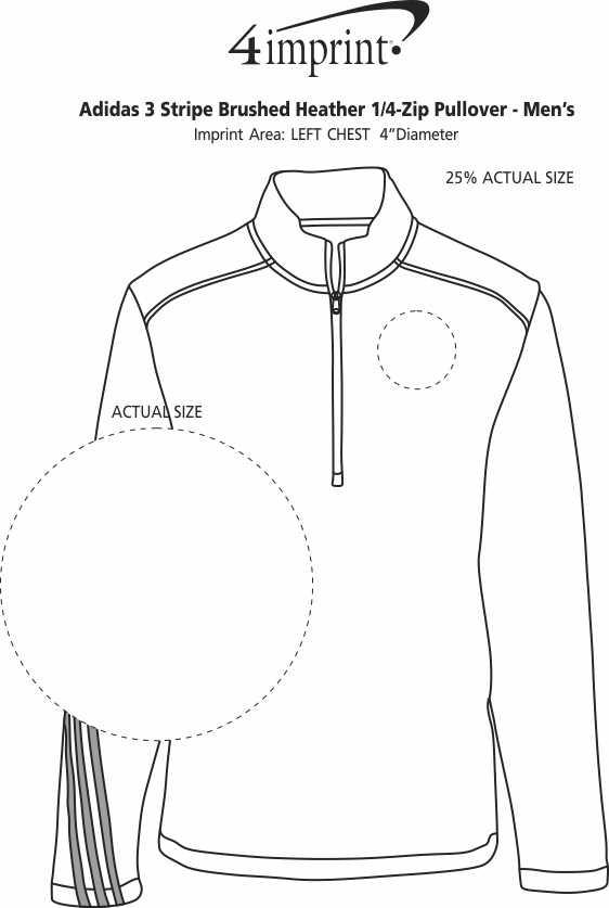 Imprint Area of adidas 3 Stripe Brushed Heather 1/4-Zip Pullover - Men's